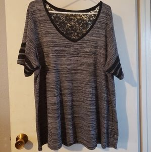 Gray and black lacy tee